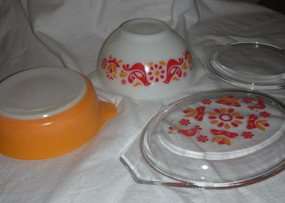 Pyrex Friendship Bowls and Lids, 1 casserole, 1 mixing bowl, 2 lids ...