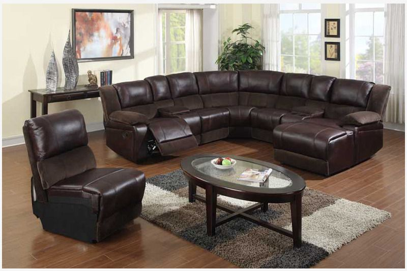 Brown Microfiber Leather Reclining Sectional Sofa Chaise Recliner Soft