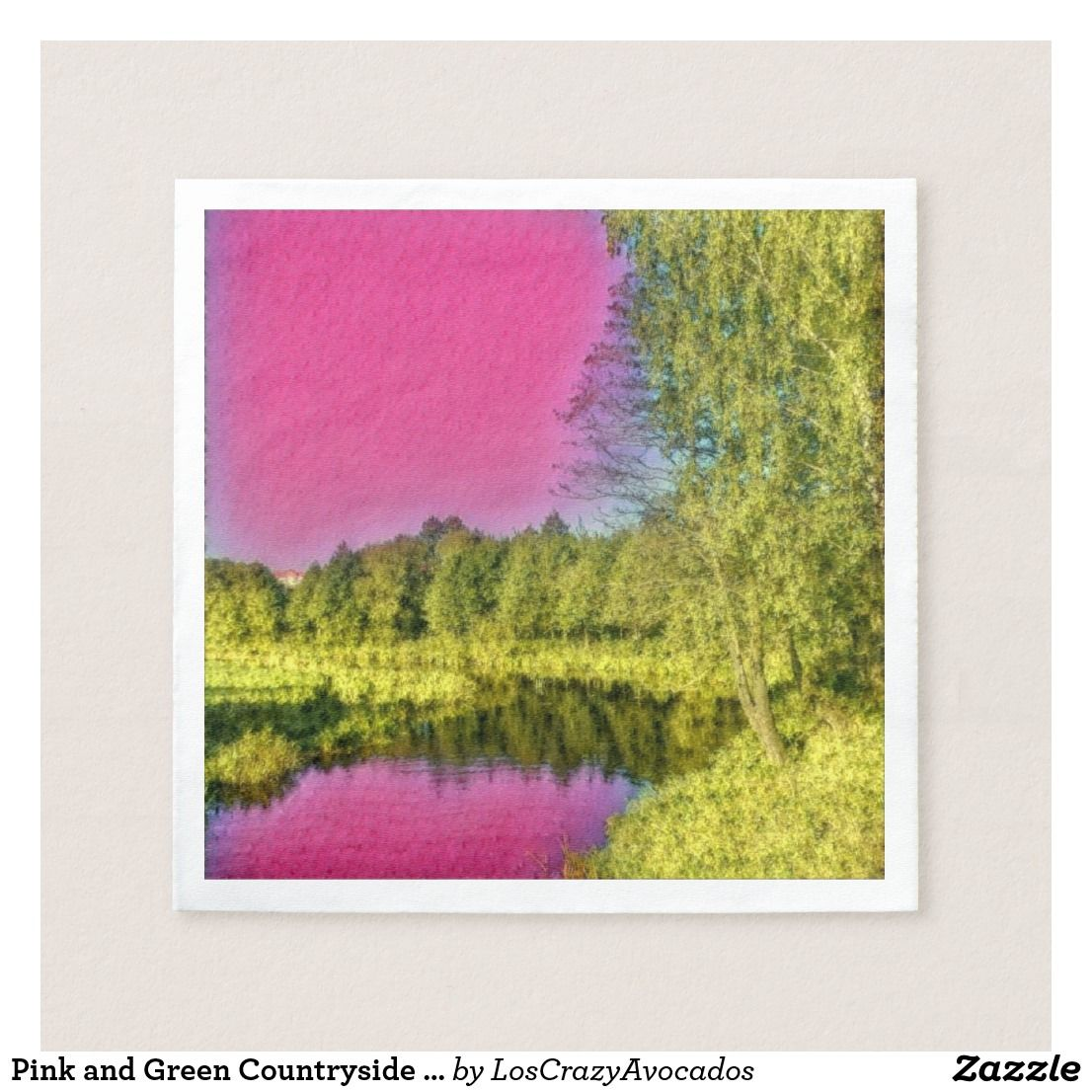 Pink and green countryside landscape paper napkin gift ideas pink and green countryside landscape paper napkin jeuxipadfo Images