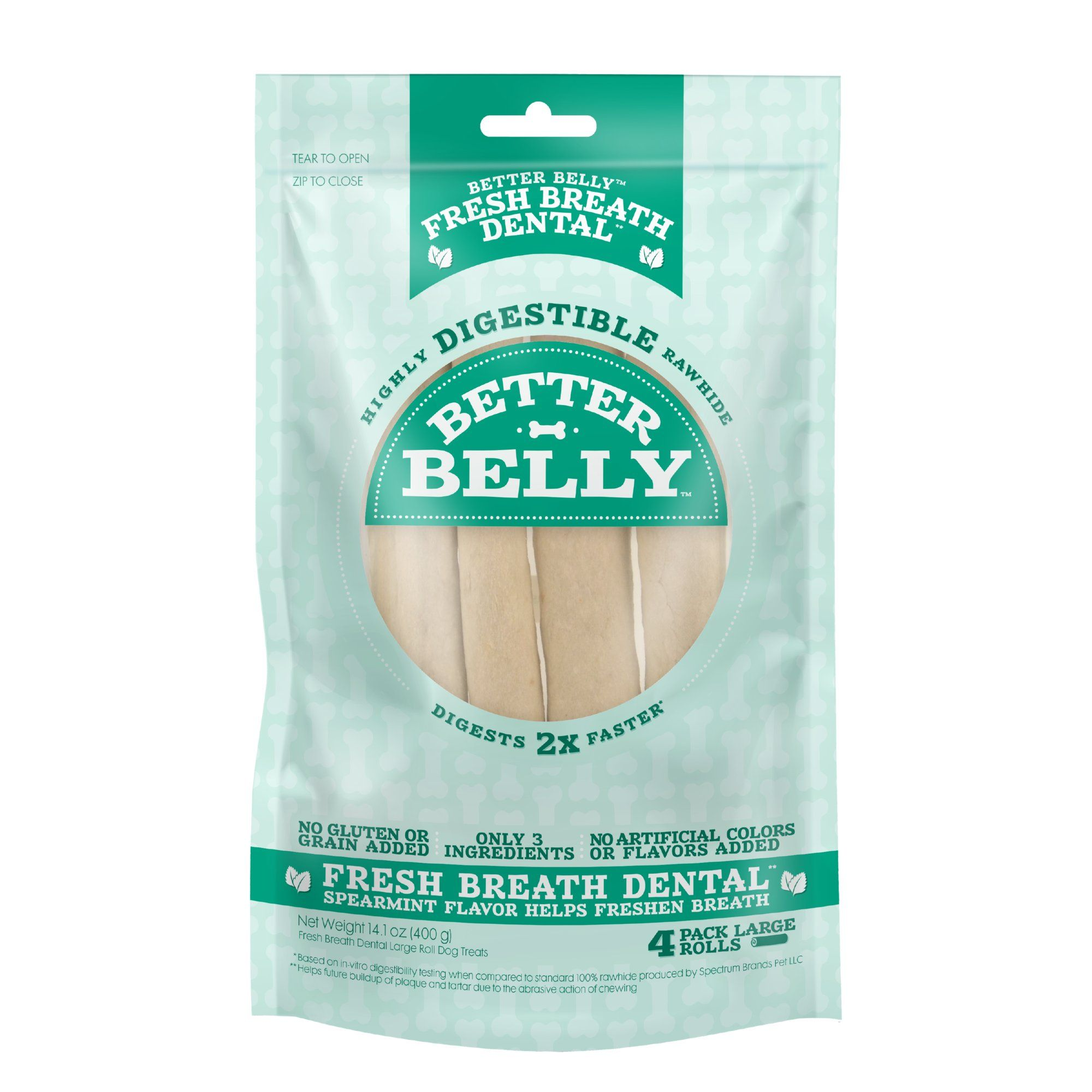 Better Belly Fresh Breath Large Roll Chews for Dogs, 4 oz
