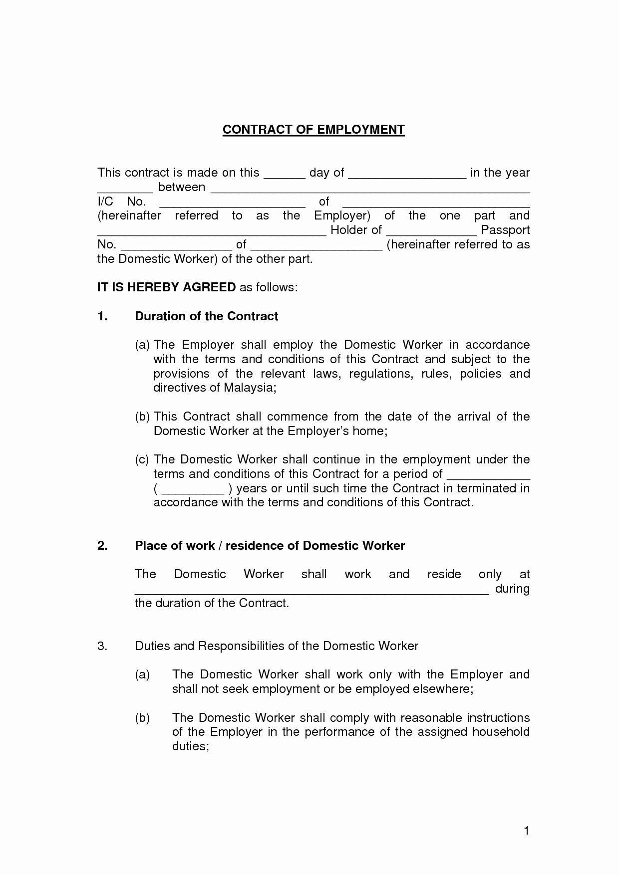 Employment Contract Template Word Luxury Free Printable Employment Contract Sample Form Generic Contract Template Domestic Worker Employment