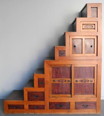 Meuble Etagere En Escalier En Sapin Et Bois Exotique