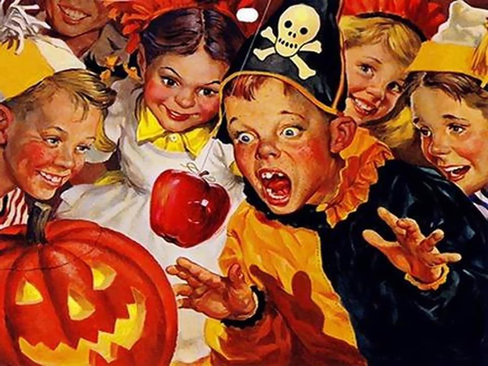 Pin By Paul Theodore On Halloweeeeeeen Vintage Halloween Halloween Desktop Wallpaper Vintage Desktop Wallpapers