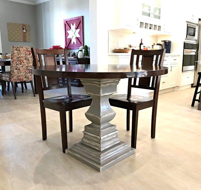 Diy wooden kitchen table with a pedestal base pedestal