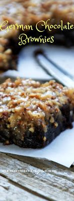 German Chocolate Brownies_ Absolute decadence!  Step-by-step photos to this easy dessert.