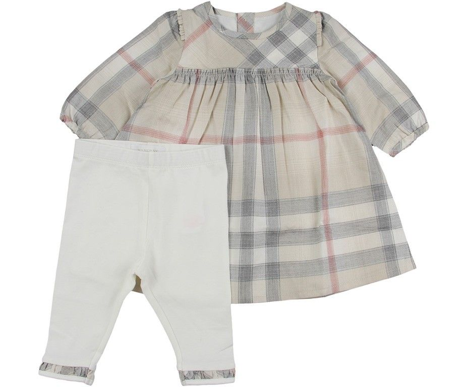 556929180674 Burberry Baby Girls Beige Check Dress & Leggings Set   Burberry Baby ...