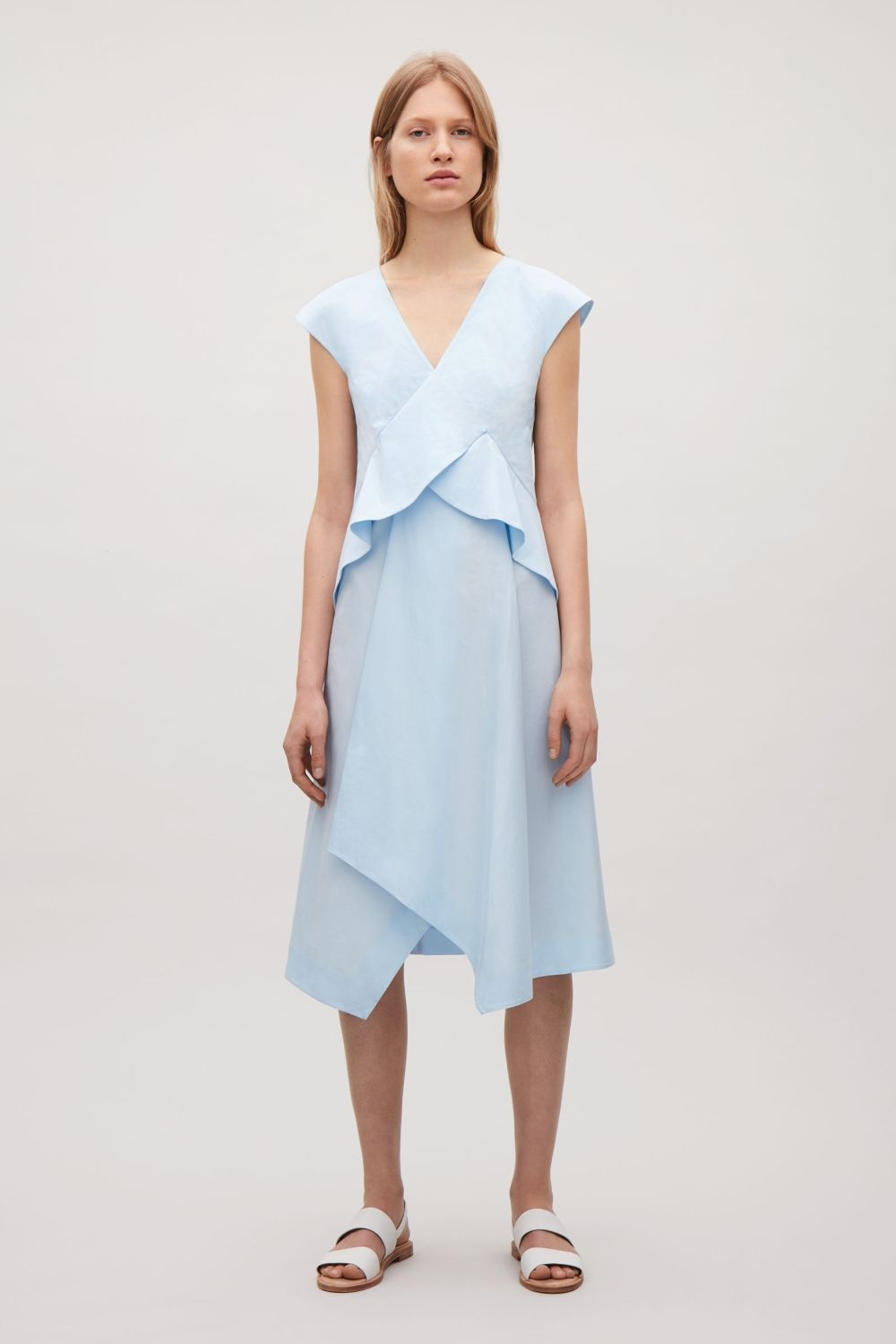Cos image of draped capsleeve dress in sky blue style