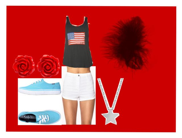 """""""red freedom"""" by c1blue ❤ liked on Polyvore featuring beauty, Forever 21, Keds and Studio Silver"""