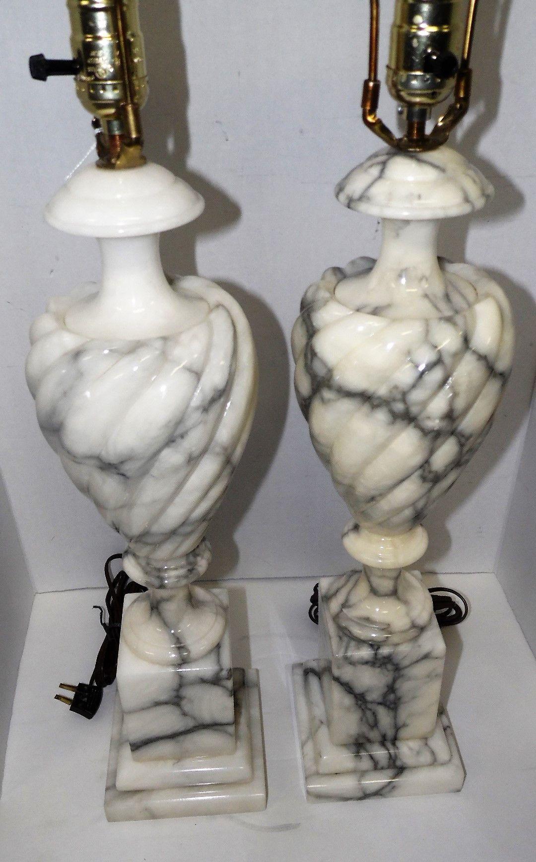 Beautiful Pair Of Jim Tirrenia Italy Marble Alabaster Onix Ornate