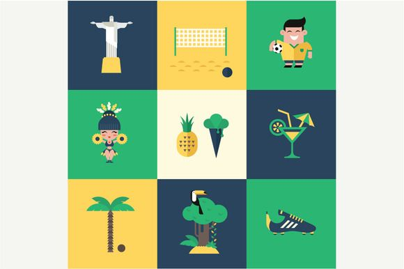 Check out Vector brazil icons by vectorprro on Creative Market