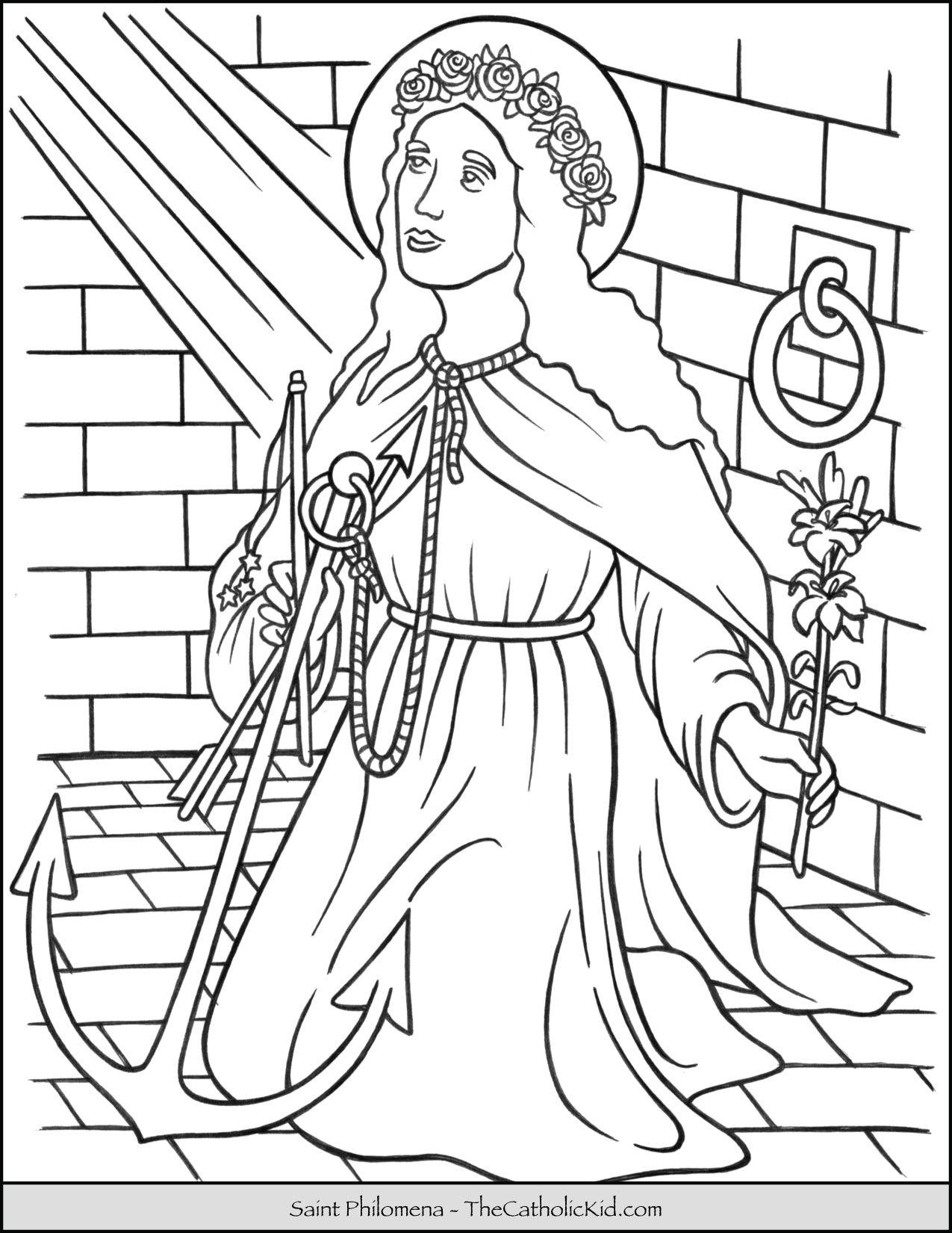 Saint Philomena Coloring Page Thecatholickid Com Saint