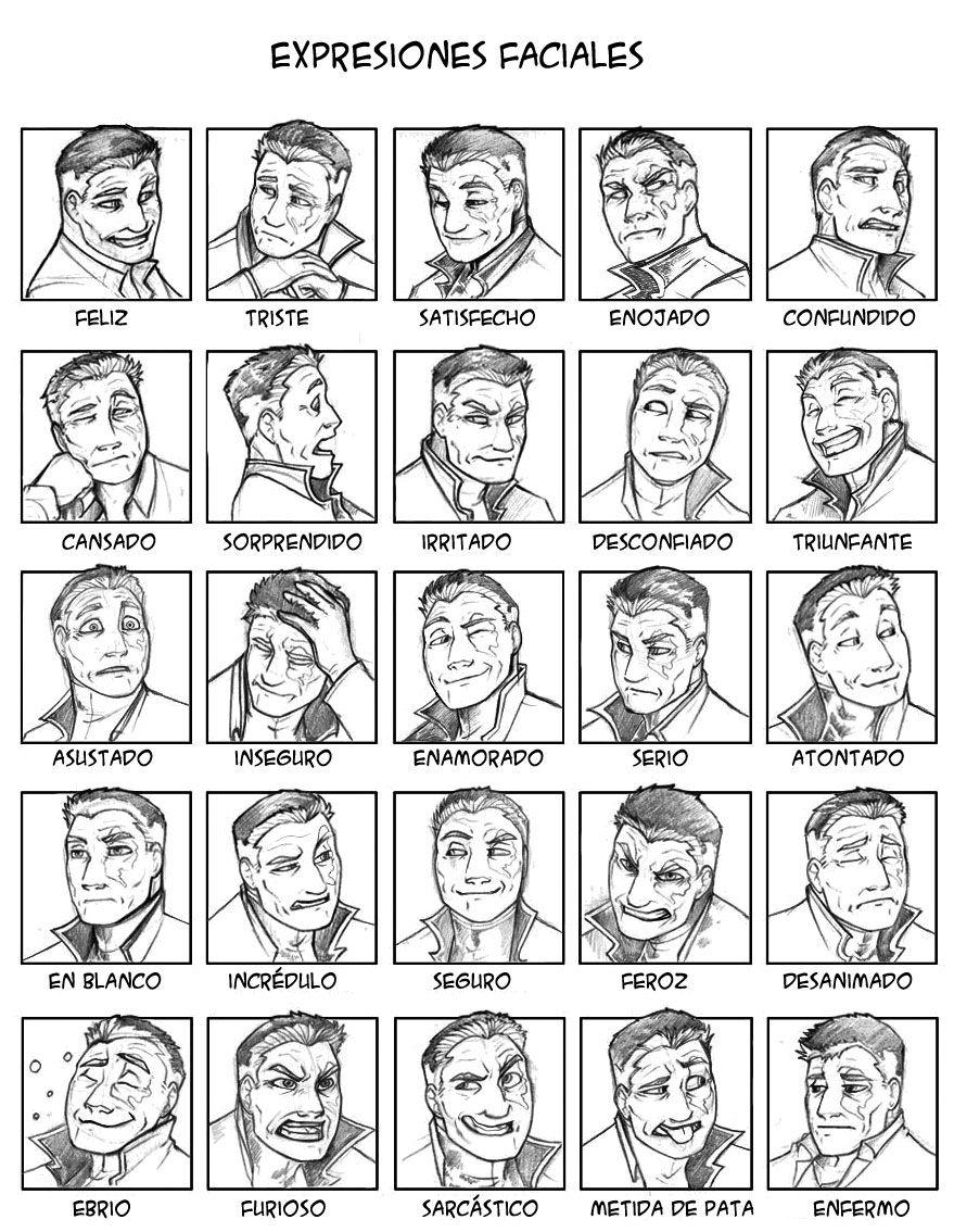 Expresiones faciales | referencias (rostro) | Pinterest | Spanisch