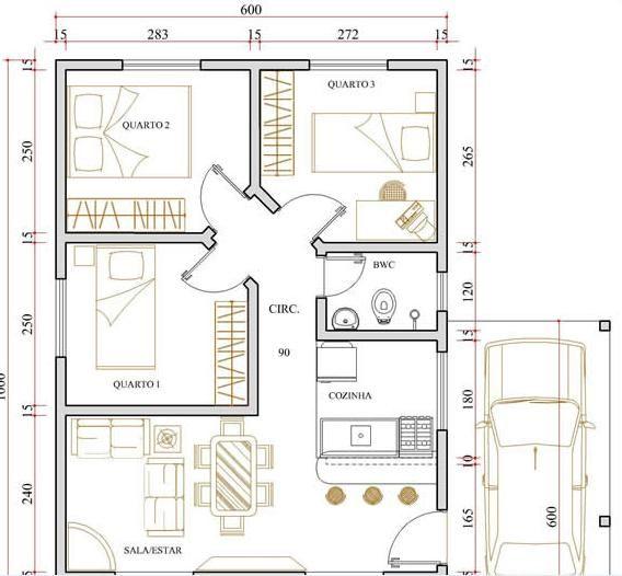 Planta de casa pequena 6 projetos de casas gr tis for Plantas de casas tipo 3 modernas