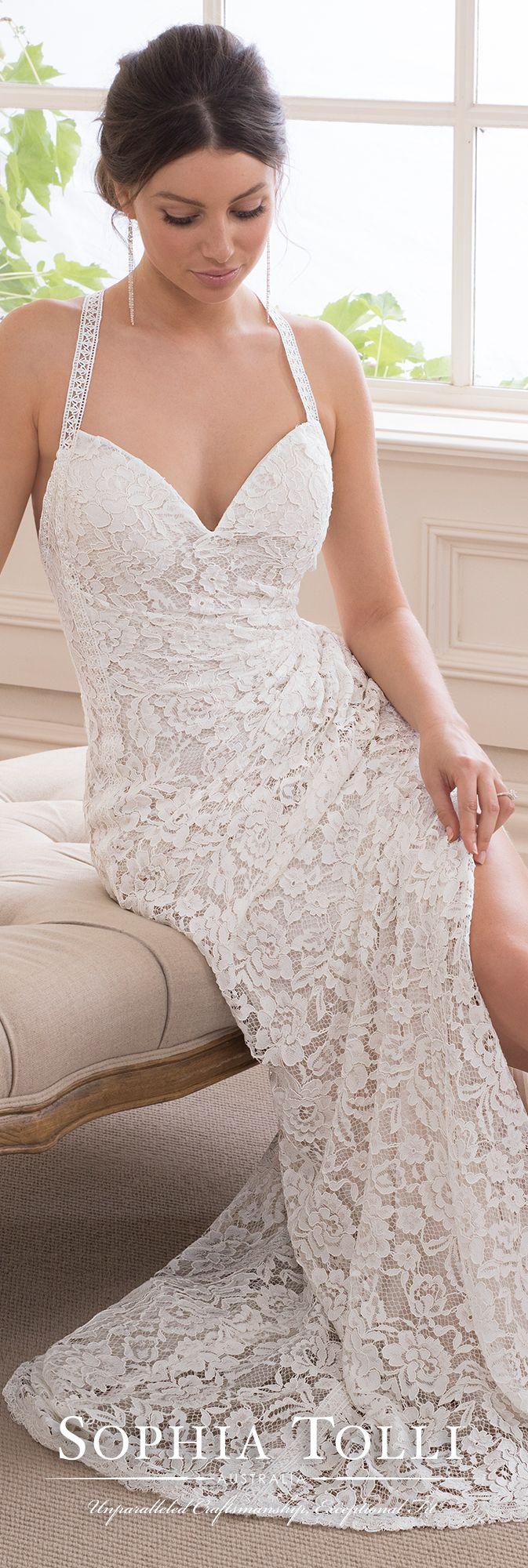 Boho chic allover lace sheath halter wedding gown wedding ideas