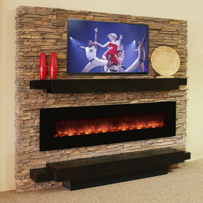 Flat Screen Fireplace Mounted On Rock Wll Fireplace Stone Wall