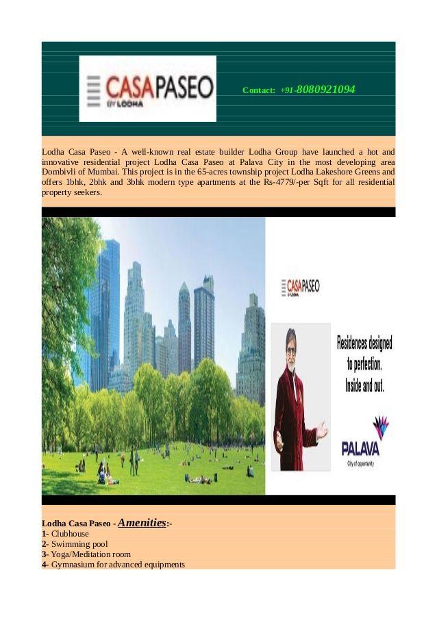 Lodha Casa Paseo Offering 1 3 Bhk Apartments In Mumbai Via