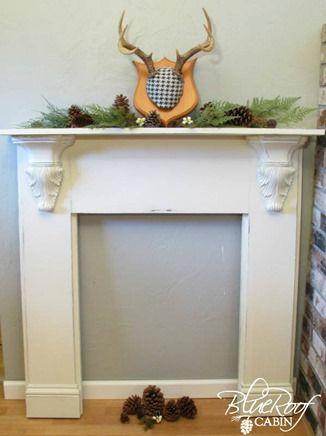 Blue Roof Cabin-DIY Faux Fireplace Mantel Tutorial Chimenea insert