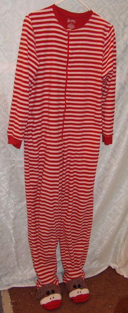 196b6546b2d3 Details about Nick   Nora S One Piece Pajama Set Red White Striped ...