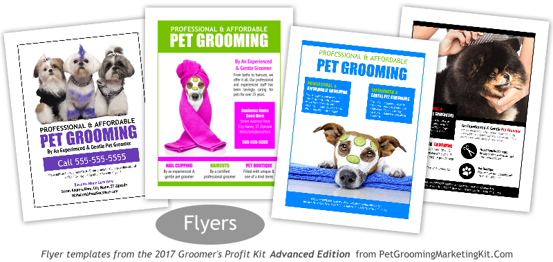 New dog grooming flyer templates included in the 2017