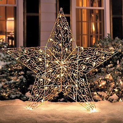 Outdoor lighted christmas 4 foot gold star yard art display outdoor lighted christmas 4 foot gold star yard art display holiday decoration ebay mozeypictures Gallery