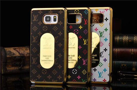Louis Vuitton Gucci Super Slim Back up Handy SchutzHülle mit Golden Spiegel für Samsung Galaxy S6, S6 edge, Galaxy Note 5 - BesteKauf