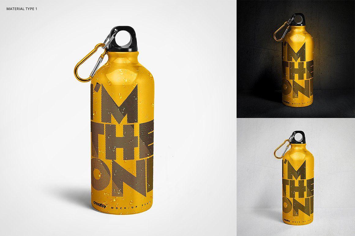 95b2b2a1335fd Aluminium Water Bottle Mockup Set #net#behance#creatsyofficial ...