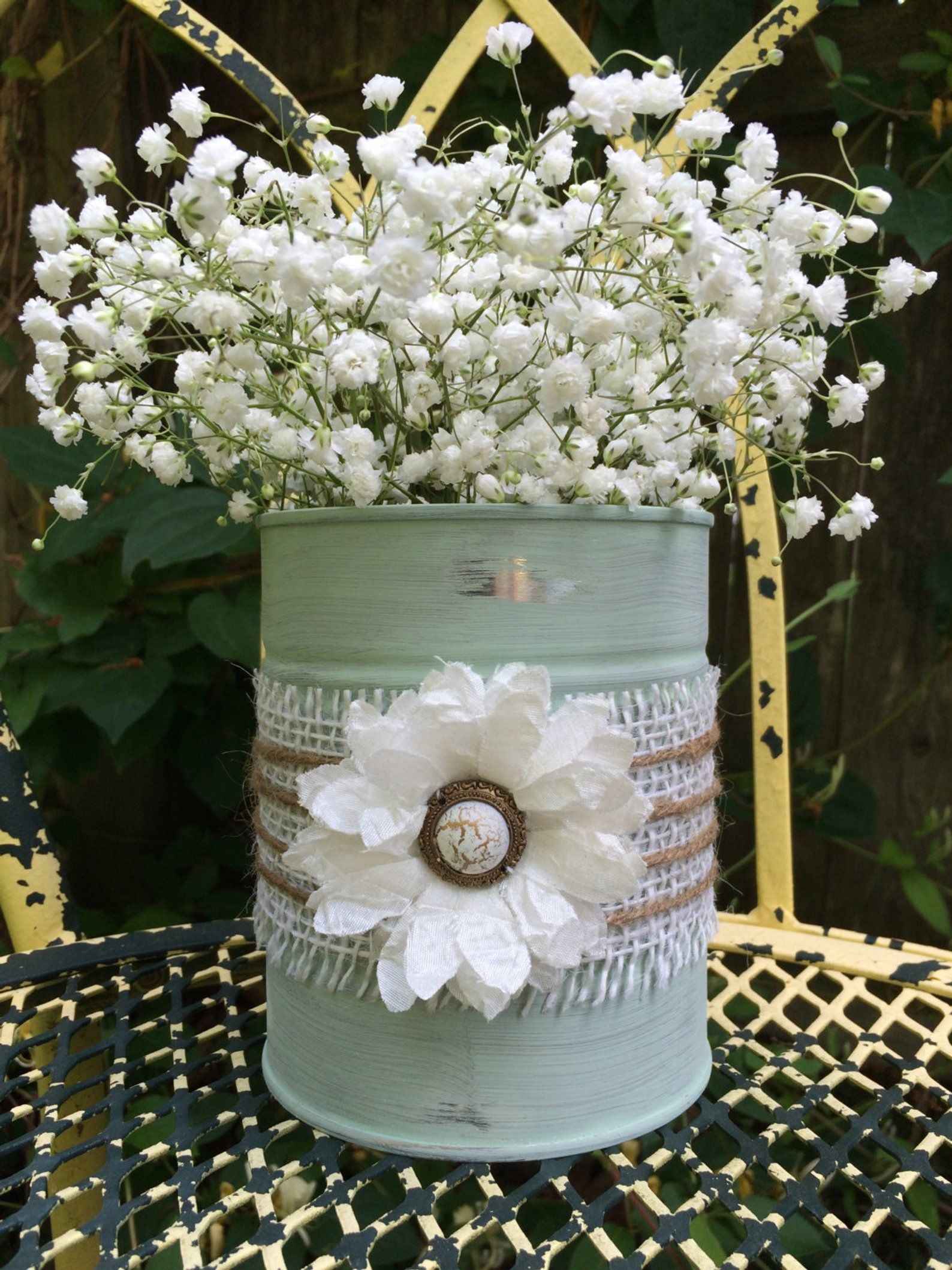 Shabby chic up cycled, repurposed tin can vase. Perfect for fresh cut flowers or you own inspiration