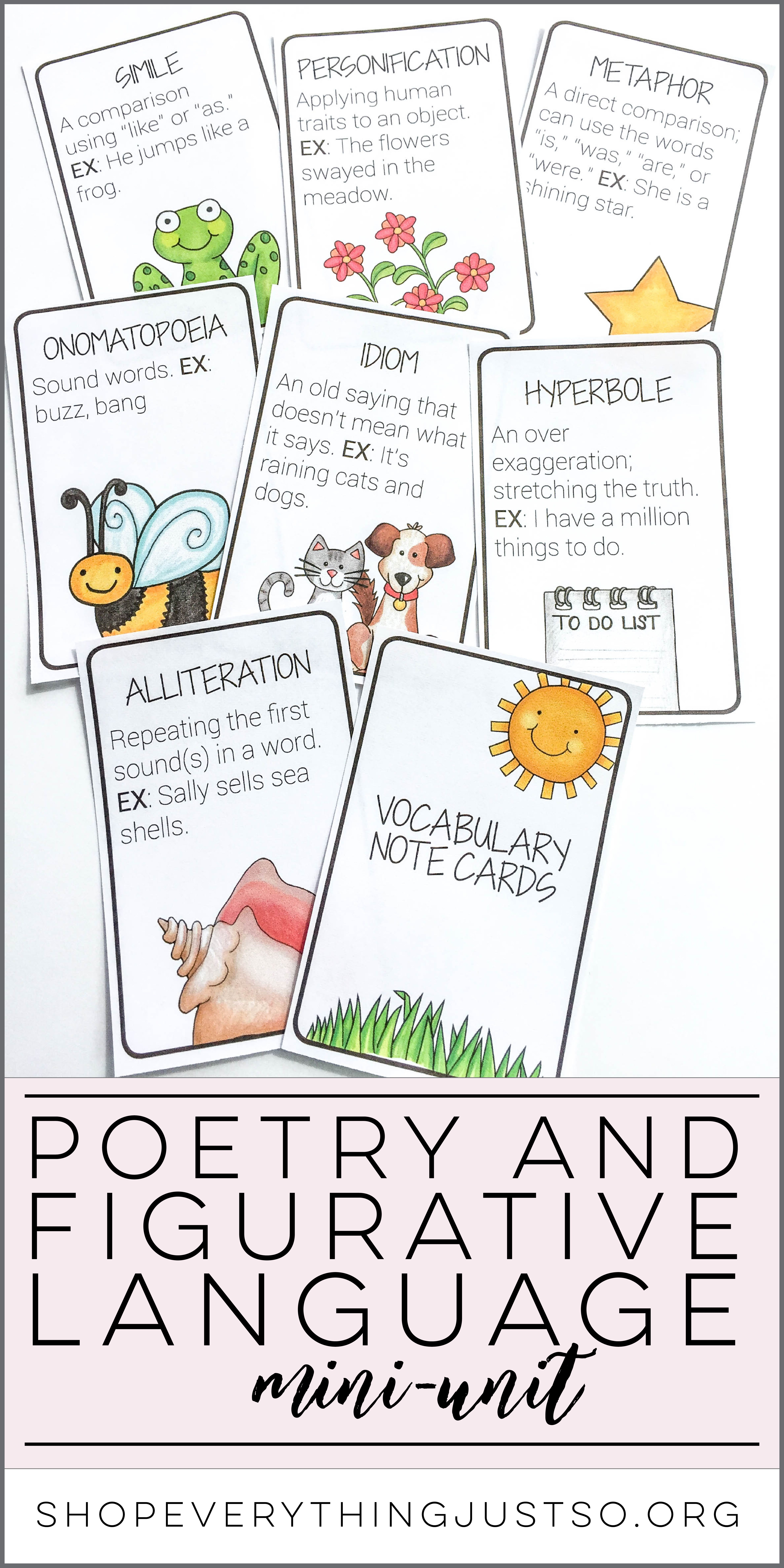 Poetry And Figurative Language Mini Unit