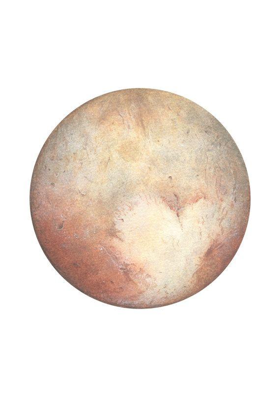 Pluto Watercolour, Planet art, Planet Watercolor, Moon ...