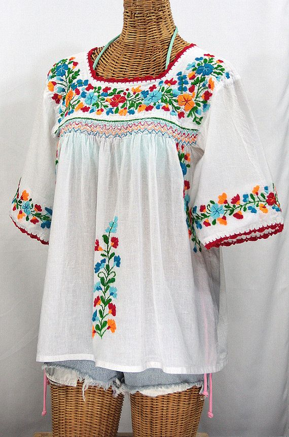 Mexican Peasant Blouse Top Hand Embroidered La Marina White