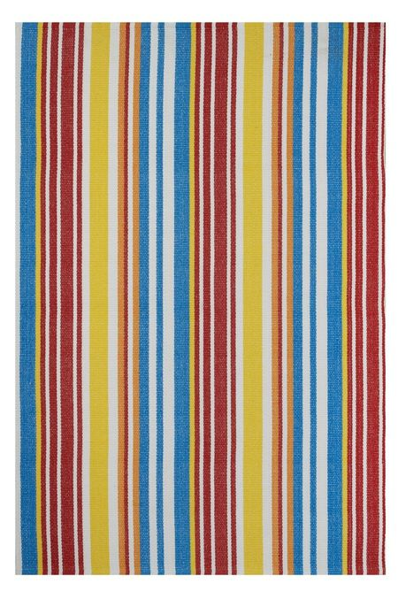 The Rio rug is hard to miss. Candy Stripes in vivid summer colors scream Beach Day! Reminiscent of everything summer, from beach blankets to ice cream stand umbrellas. See the entire collection at www.shopboxhill.com