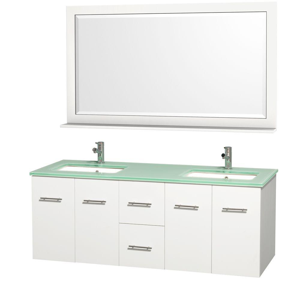 Wyndham Collection Centra 60 In Double Vanity In White With Glass