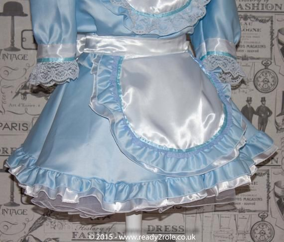Hi Neck Frilly Sissy Dress in Duchess Satin - Made to Any Size - Ask About Colours