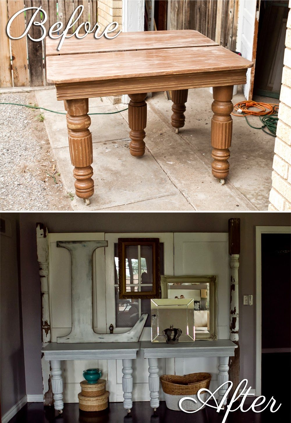 Before & After Old table & doors transformed Table, Diy