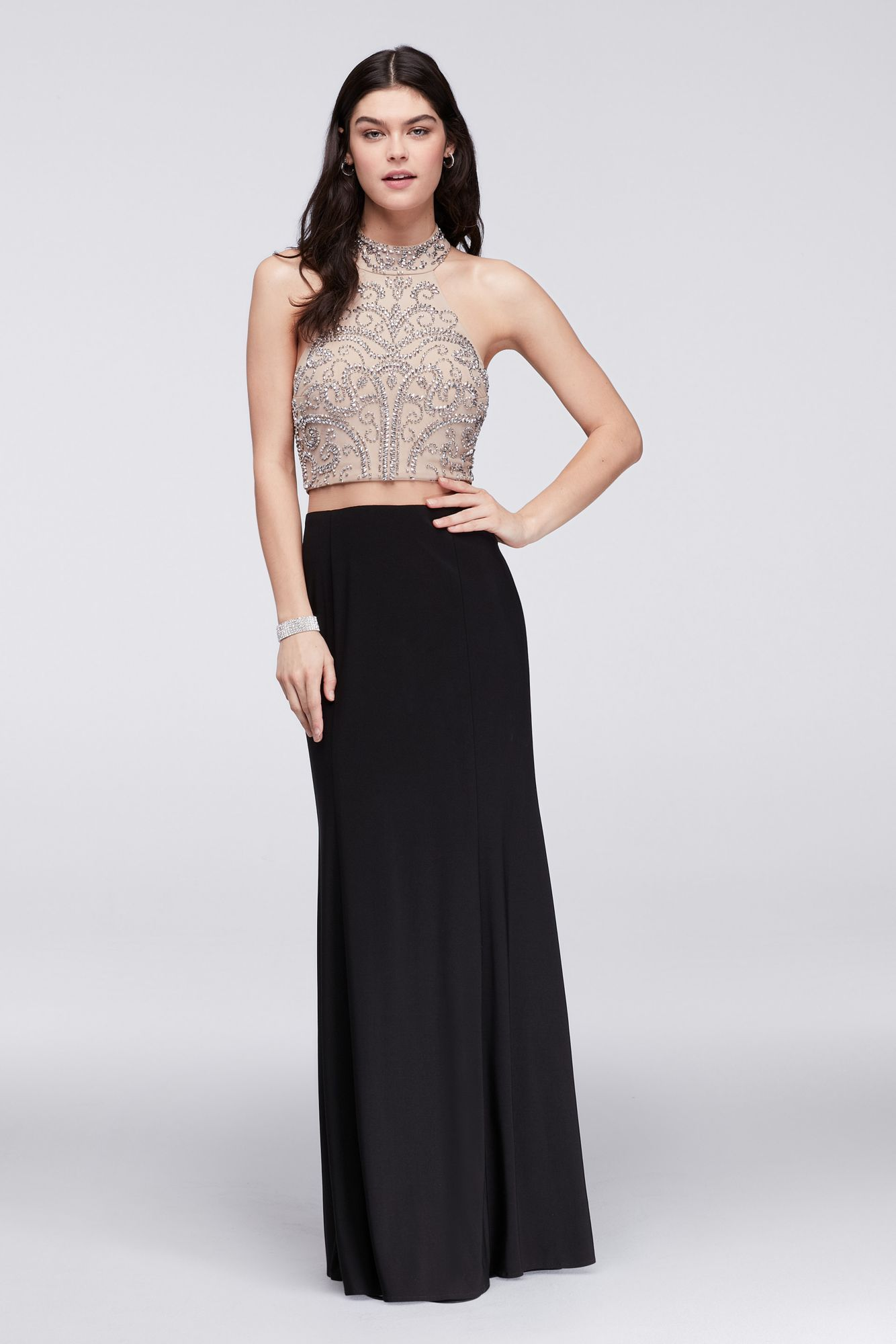 Best selling caviarbeaded mesh and jersey halter neck dress for