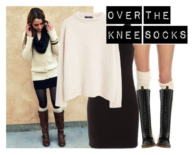 Over the knee socks by baggheera on Polyvore featuring mode, MANGO, Free People and Dr. Martens