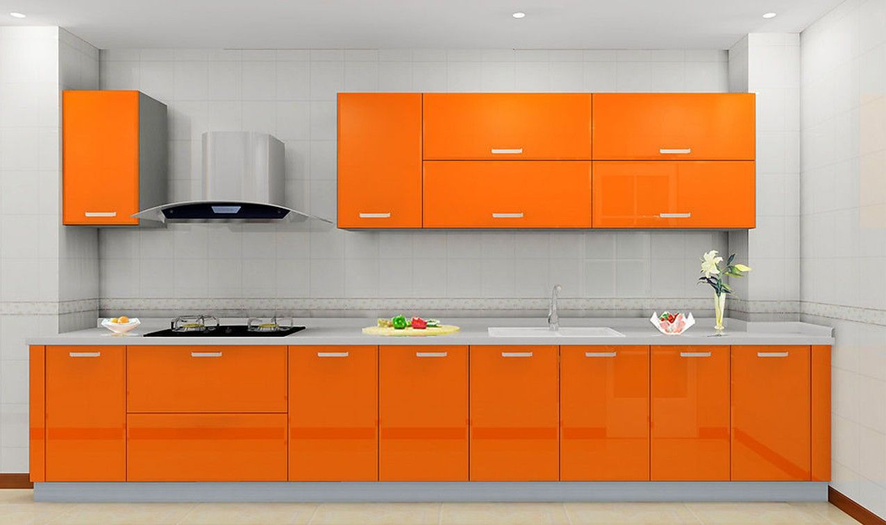 Kitchen cabinet designs and colors - Stylish Orange Kitchen Designs For A Lighter Look Clean Modern Kitchen Decoration With Glossy Orange