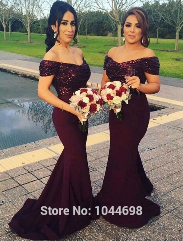 d08ae6cbe87f Wine Red Sequins Bridesmaid Dress 2017 Robe De Mariage Sexy Boat Neck  Elegant Mermaid Wedding Guest