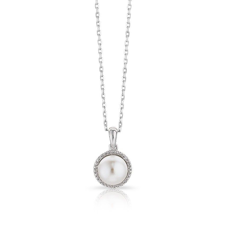 "Sterling silver necklace has a polished bail followed by a round pearl at center surrounded by a rope design accented with round diamonds on an adjustable 16-18"" chain."