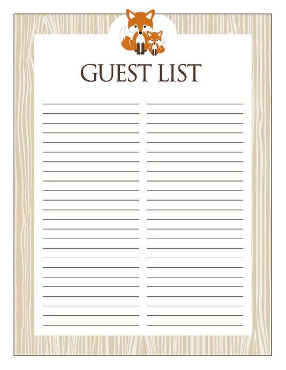 9f6d1d419084b Instant Download Fox Guest List, Printable Brown Orange Fox Baby ...