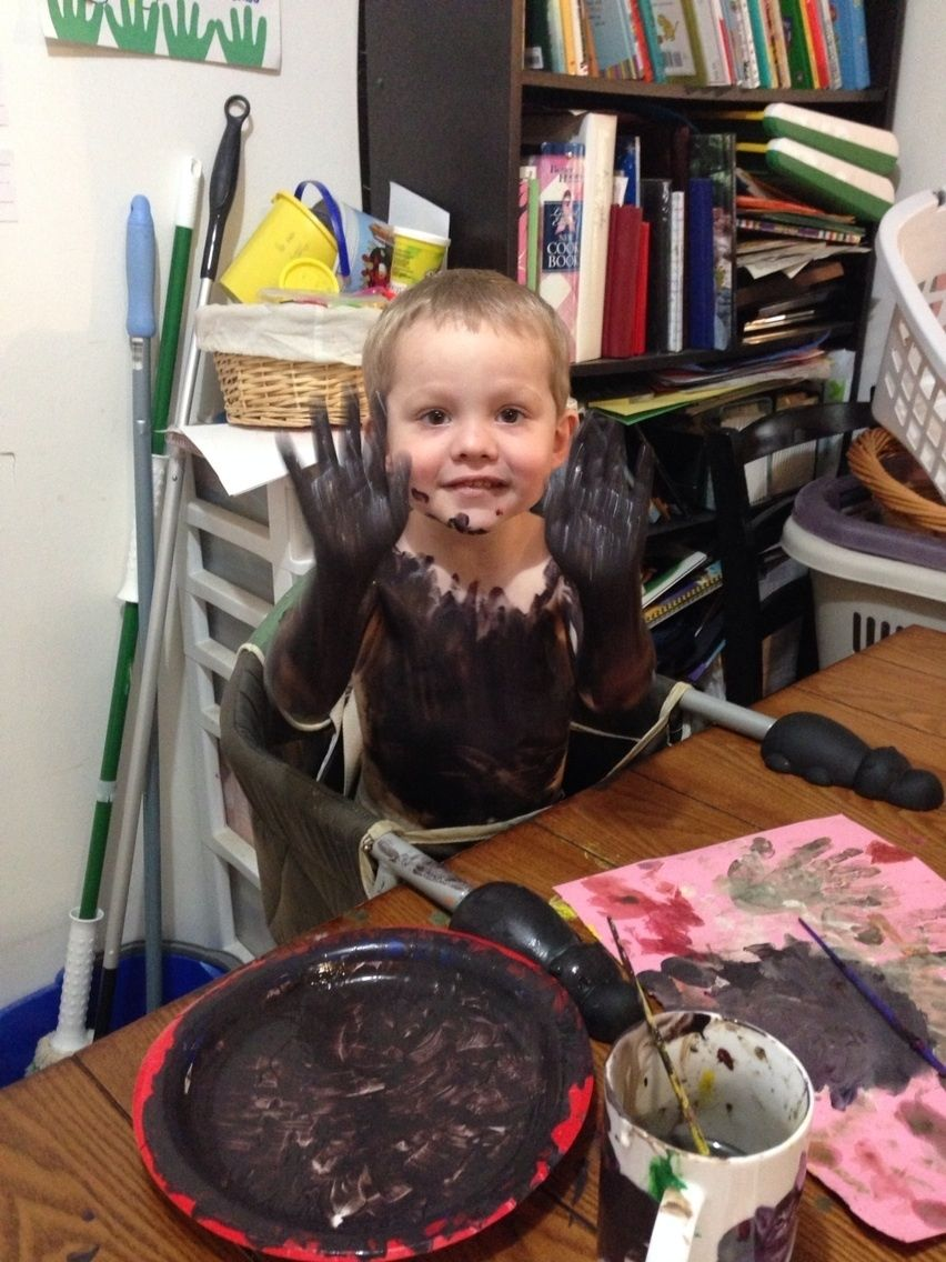 """Sooooo, this happened. I turned my back for a minute. And temper paints don't come off like they say they do. But he had fun!"" Calob's latest memory via @keepyme Check it out: http://mem.keepy.me/1rZRQIC #parenting #childhood #memories"