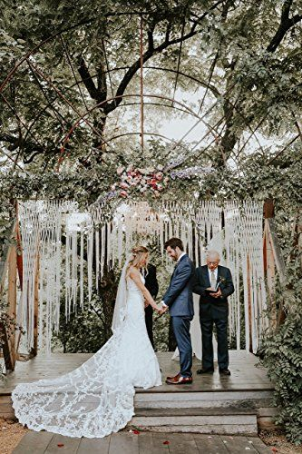 Large macrame wedding garland customizable by width backdrop for large macrame wedding garland customizable by width backdrop for decor at indoor or outdoor ceremonies junglespirit Images