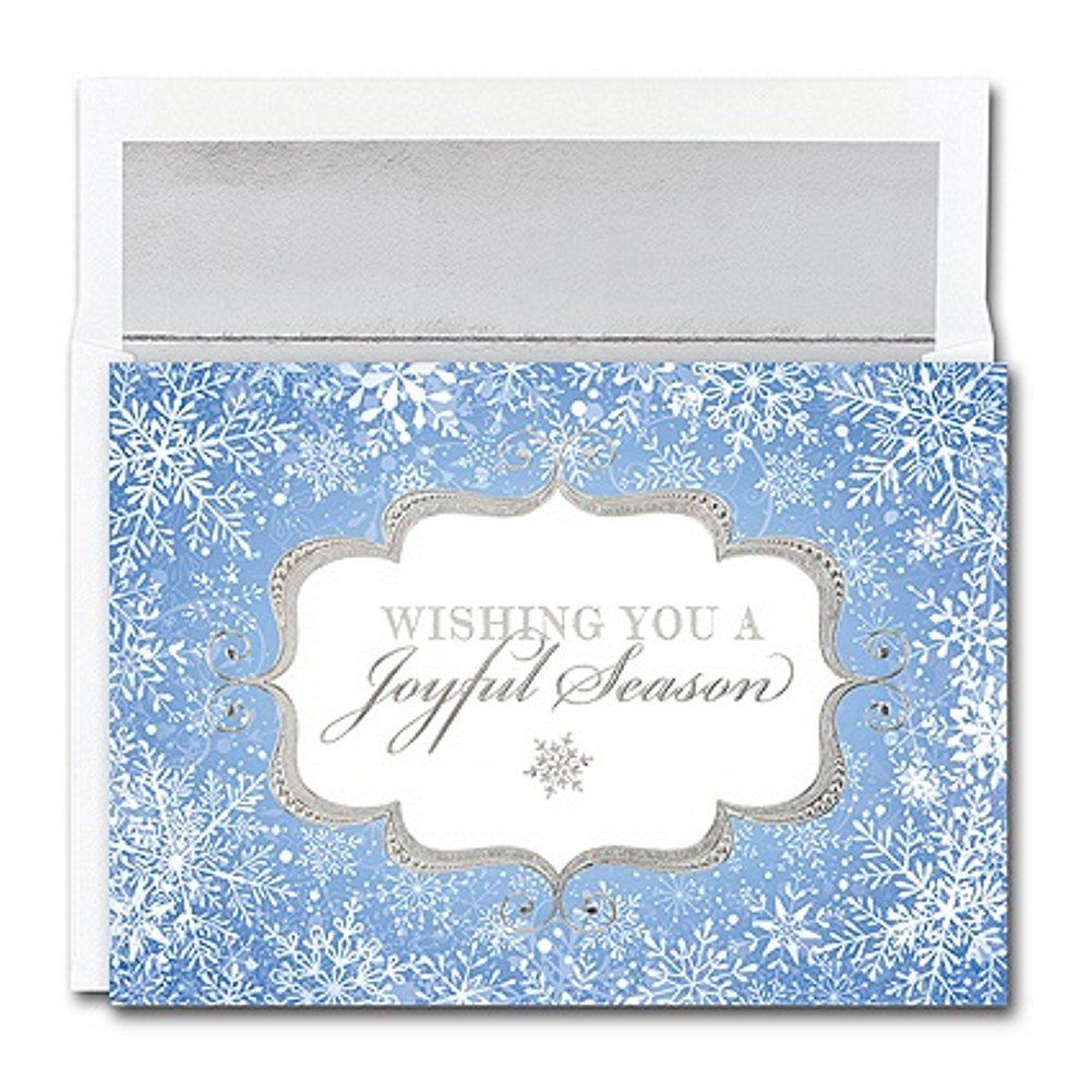 Joyful Season Holiday Cards With Silver Foil Lined