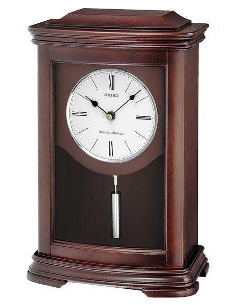 Seiko Pendulum Mantel Clock Dark Brown Alder Wood Case Mantel Clock Mantel Clocks Pendulum Clock