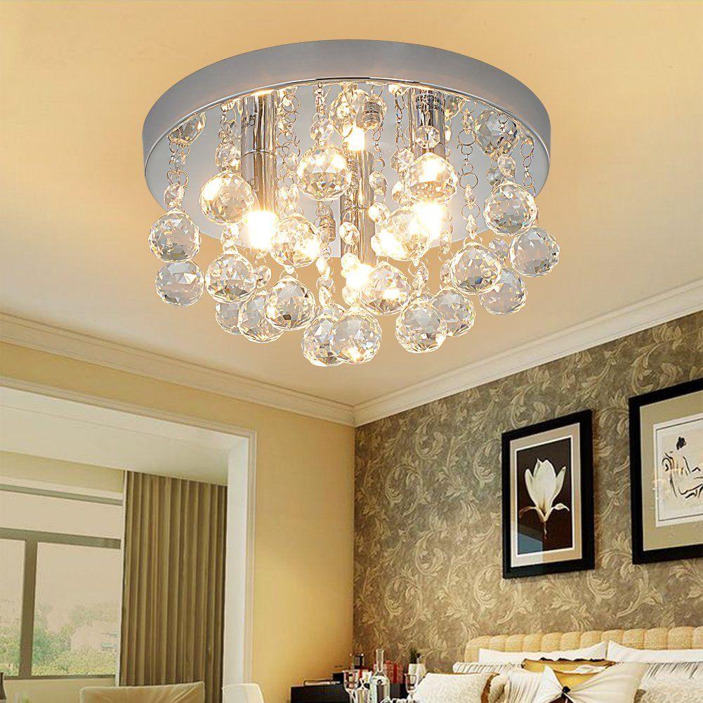 RH RUIVAST Flush Mount Ceiling Light Crystal Chandeliers Lighting 3 Fixture Mini Style Modern