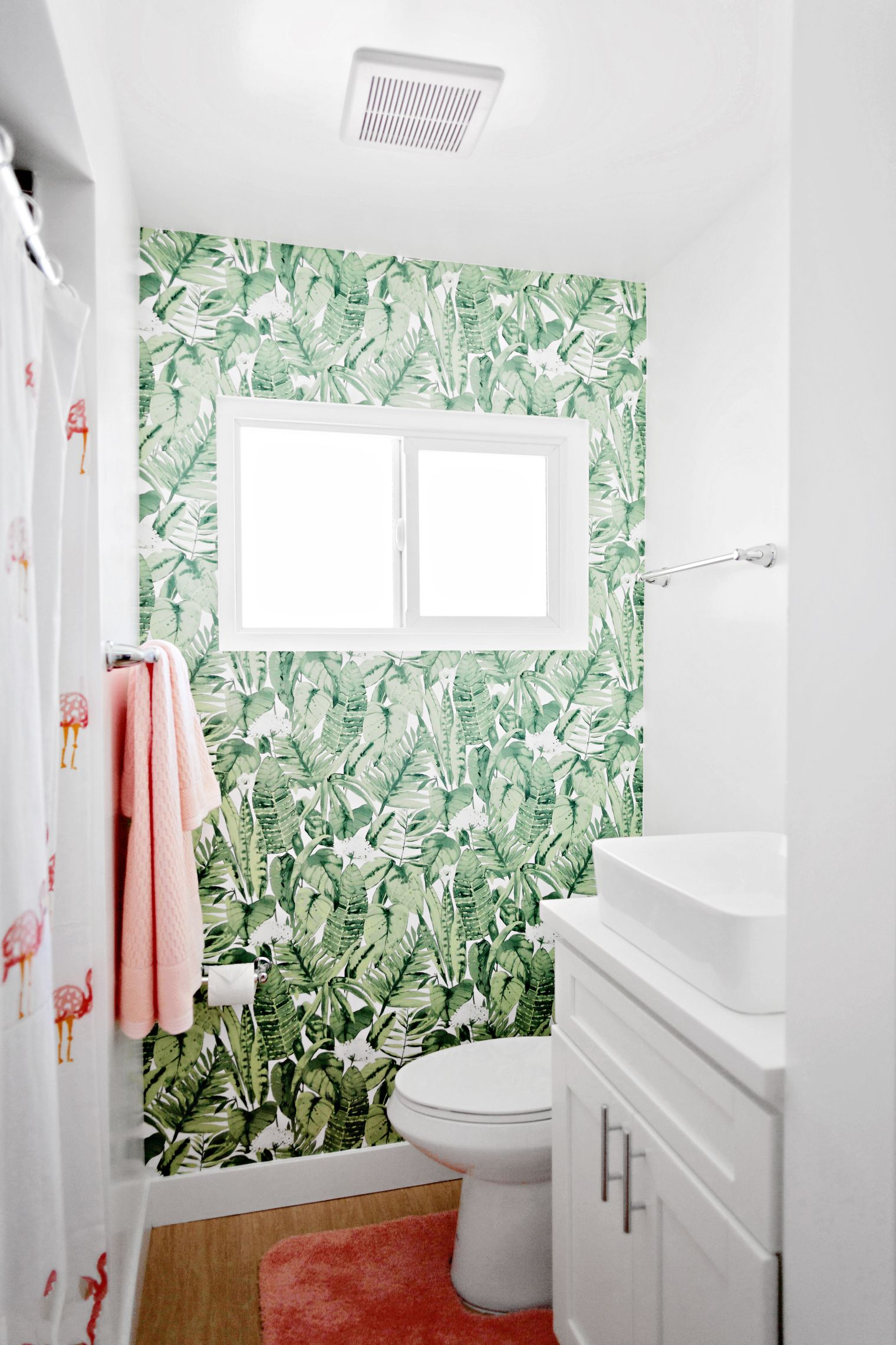 How to install peel and stick Tempaper wall paper in a bathroom (8 ...