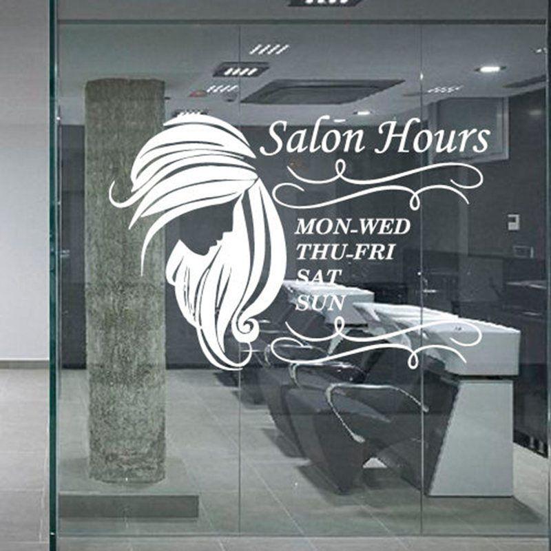 Hair Salon Sticker Beauty Decal Haircut Name Posters Time Hour Vinyl Wall  Art Decals Decor Decoration Mural Salon Sticker