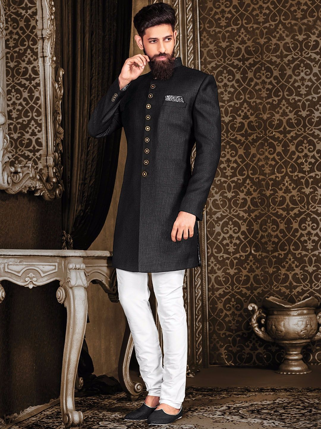 Terry rayon black festive indo western sherwani menus suits