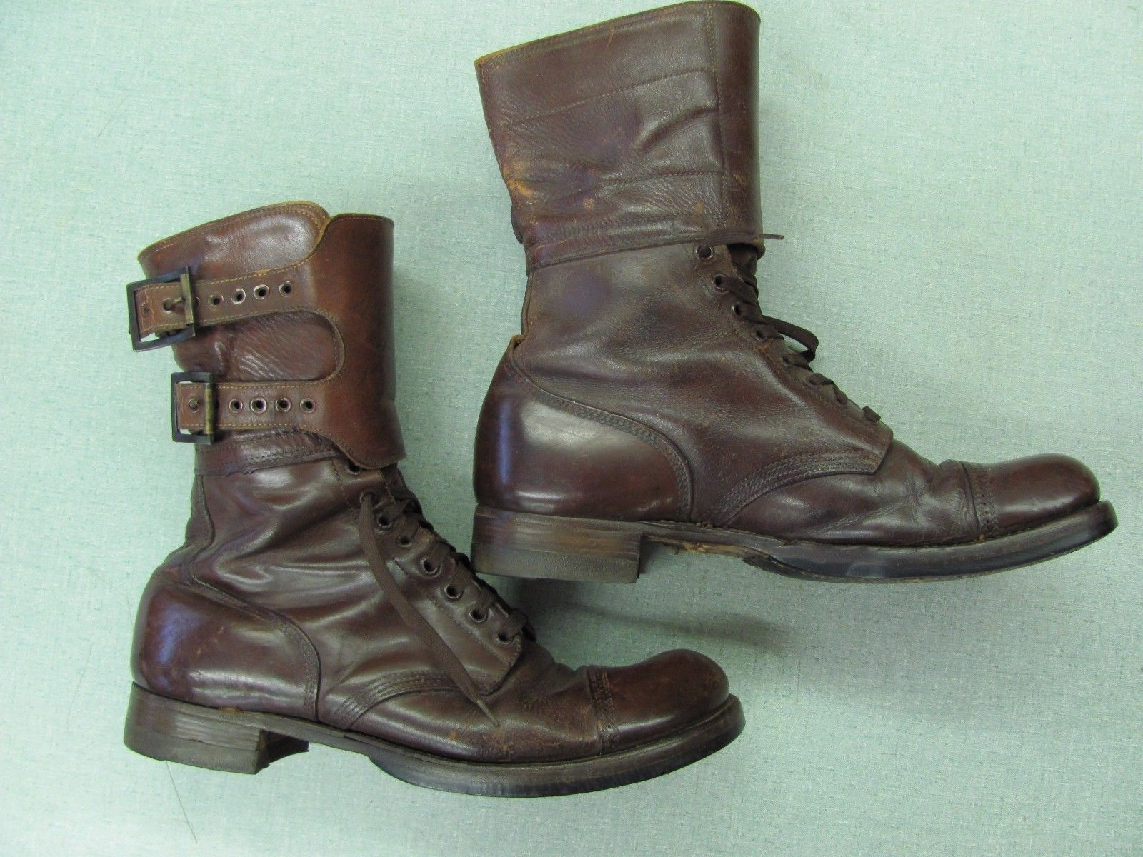 c9f4f650a39b Original WW2 US Army Double Buckle Combat Boots Russet Leather Size 11 1  2  B in Collectibles