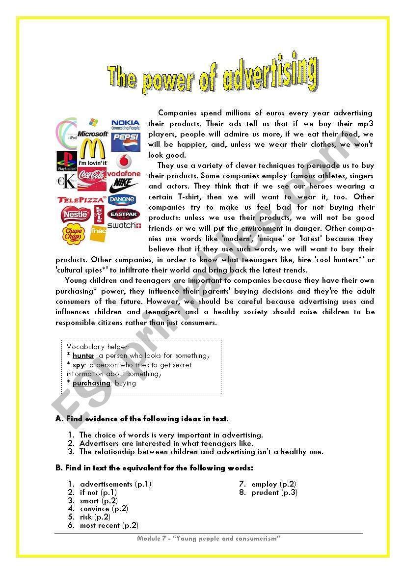 The Power Of Advertising Worksheet Visit Www Advertisingteacher Com Make More Sales Reading Comprehension Worksheets Writing Expressions Good Vocabulary Words [ 1169 x 821 Pixel ]